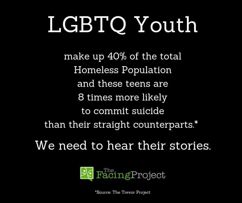 LGBTQ Youth make up 40% of the homeless population and these kids are 8x more likely to commit suicide then their straight counterparts